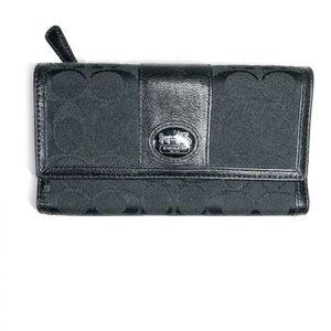 Coach Signature Black Canvas and Leather Wallet